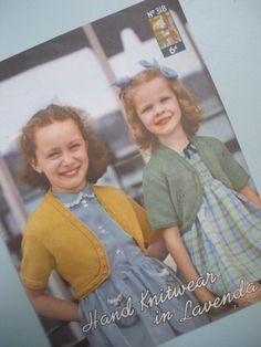 Vintage Knitting Pattern 1940s 1950s Girls Bolero Cardigan Top 40s 50s original pattern