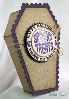 Coffin Treat Box designed by Michele Kovack Halloween Care Packages, Halloween Treat Bags, Halloween Drinks, Halloween Items, Halloween Projects, Spirit Halloween, Halloween Cards, Fall Halloween, Happy Halloween