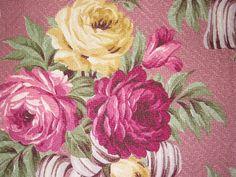 Pink Vintage Barkcloth