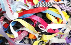 GRAB BAG 1/4 Pound Printed and Solid Fold Over Elastic 1/2 yard or Longer Headbands Hair Ties