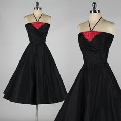 vintage 1950's black taffeta party dress . by millstreetvintage