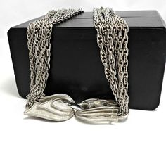 LISNER 6 chain necklace fancy brushed metal clasp silvertone 25 inch signed #Lisner #chain
