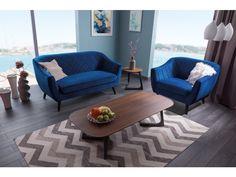 "Fotoliu fix tapitat cu stofa, ""Molly 1 Velvet"" Blue, cm Blue Velvet, Contemporary, Modern, Accent Chairs, Lounge, Couch, Living Room, Interior Design, Rugs"