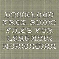 Download Free Audio Files for Learning Norwegian