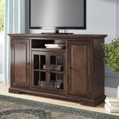 Darby Home Co Legrand TV Stand for TVs up to 70 inches Spacious Living Room, Living Room Tv, Living Room Furniture, Home Furniture, Open Shelving, Adjustable Shelving, Floating Entertainment Center, Do It Yourself Organization, Solid Wood Tv Stand