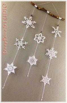 Crochet Snowflake Pattern, Christmas Crochet Patterns, Crochet Snowflakes, Diy Snowflakes, Snowflake Garland, Christmas Snowflakes, Christmas Crafts, Snowflake Craft, Etsy Christmas