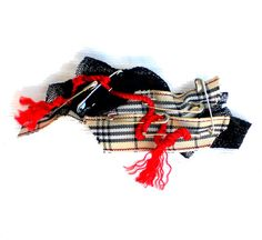#Gift for her  #Fabric #brooch with safety pins  tartan by lillicose, $12.25