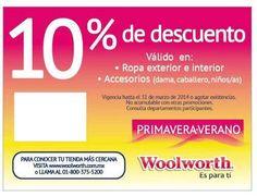 Woolworth: 10% descuento en Ropa Exterior e Interior ¡Este fin de semana puedes estrenar ropa de Primavera Verano! Pues Woolworth esta ofreciendo hasta 10% de descuento en Ropa exterior e interior, accesorios(dama, caballeros, niños/as).Descarga el cupón enwww.woolworth.com.mxCheca toda la col... -> http://www.cuponofertas.com.mx/oferta/woolworth-10-descuento-en-ropa-exterior-e-interior/