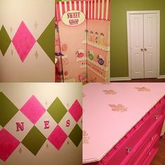 Girl Power! Paint changes everything #painting #custompainting #interiorpainting #decorativepainting #paint #goldpinkgreen #classic #diy #kidsbedroom #style #customdesign #interiors #interiordesign #designer #yourexperiencematters #jodesigns__