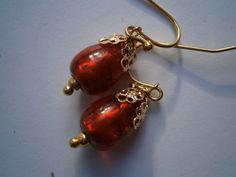 Ohrringe Glastropfen orange rot von kunstpause auf DaWanda.com