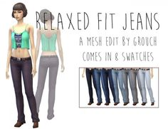 Simsworkshop: Relaxed Fit Jeans by Grouchy Old Sims
