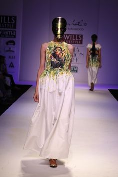 funky printed gown #wifw #fashionweek #fashion #ss14 #trends #nidamahmood #indianfashion #fdci #masks
