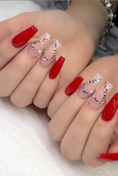 101 Want to see new nail art? These nail designs are really great Picture 69 Nails design; Rhinestone Nails, Bling Nails, Dope Nails, Swag Nails, Grunge Nails, Rhinestone Nail Designs, Red Glitter Nails, Cute Red Nails, Glow Nails