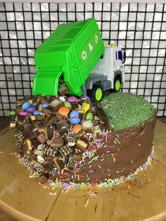 Garbage Truck Cake with regard to Newest - Birthday Ideas Make it Dump Truck Cakes, Truck Birthday Cakes, Dump Trucks, Birthday Cupcakes, Garbage Truck Party, Rubbish Truck, 2nd Birthday Parties, Birthday Ideas, Cakes For Boys
