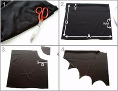 How to make Bat Wings for Halloween Costumes These bat wings are a fun and really easy to make addition to any dress up box. They only took me around ten minutes to whip up with some black lycra fabric I had laying about in m sewing room. Diy Bat Costume, Bat Halloween Costume, Halloween Bats, Diy Costumes, Dragon Costume, Halloween Images, Shirt Diy, Diy Wings, Fantasias Halloween