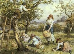 In the Orchard ~ Myles Birket Foster ~ (English: 1825-1899)