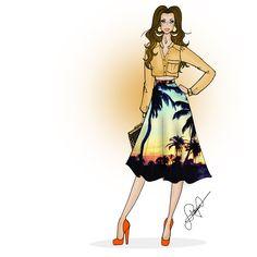 Saia midi  #saiamidi #coqueiral #estampa #cropped #fashion #moda #desenhodemoda #fashiondesign #illustration #ilustração #ilustraçãodemoda #modafeminina #saia #draw #paulovicttorpaiva
