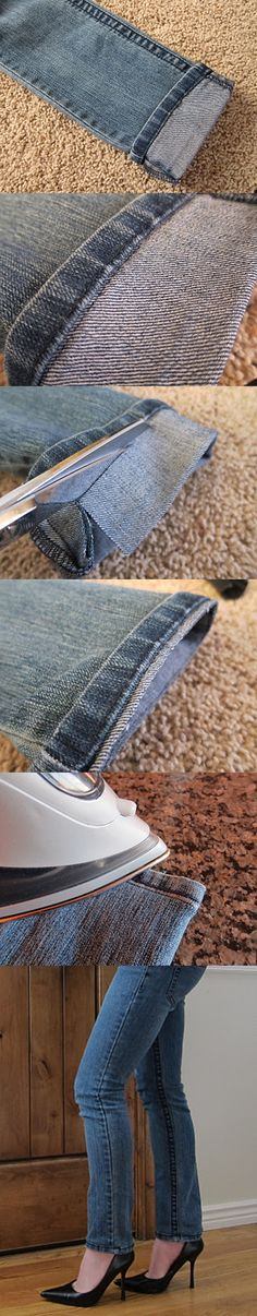 WonderfulDIY.com | Wonderful DIY Shorten Long Jeans But Keeping The Orignal Hem | http://wonderfuldiy.com