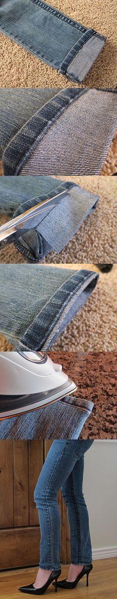 Wonderful DIY Shorten Long Jeans But Keeping The Orignal Hem   WonderfulDIY.com