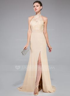 Trumpet/Mermaid High Neck Sweep Train Ruffle Beading Sequins Split Front Zipper Up at Side Regular Straps Sleeveless No Champagne Fall General Plus Chiffon Lace Evening Dress