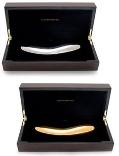 LELO Inez- Stainless Steel & Gold Vibrator Dildo: INEZ is pure luxury. We like to say that if Tiffany & Co. sold vibrators THIS would come in a blue box. These luxurious sex objects were designed by the Swedish-based company LELO. Handcrafted in Stainless Steel or 24K gold-plate, with a deep and resonant vibration. The metal is luxurious and evocative against the naked skin. http://www.holisticwisdom.com/inez-lelo.htm