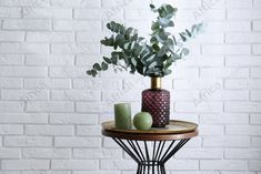 Eucalyptus branches and candles on table near white brick wall. Buy Creativity & Imagination. Take a look at what the world's best photographers have to offer at africa-images.com Eucalyptus Branches, White Brick Walls, Best Photographers, Indoor Plants, Imagination, Creativity, Africa, Candles, Stock Photos