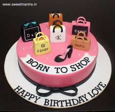 Born to Shop theme customized designer fondant cake with 3D shopping bags stilleto by Sweet Mantra - Customized 3D cakes Designer Wedding/Engagement cakes in Pune - http://cakesdecor.com/cakes/290727-born-to-shop-theme-customized-designer-fondant-cake-with-3d-shopping-bags-stilleto