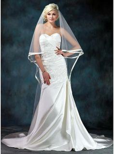 Trumpet/Mermaid Sweetheart Chapel Train Satin Wedding Dress With Beading Appliques Lace Cascading Ruffles