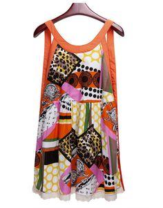 Stiching Lace Printed Spaghetti Strap Sleeveless Loose Dress - Sheinside.com