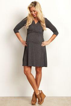 $45.00. Charcoal-Wrap-V-Neckline-3/4-Sleeve-Maternity/Nursing-Dress