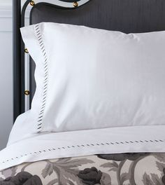 Celerie Kemble by Eastern Accents - Ona Charcoal Collection Linen Sheets, Linen Pillows, Linen Bedding, Bed Sheets, Bed Pillows, Bed Linens, Cushions, Bed Ensemble, Embroidery