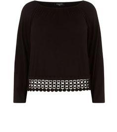 Black Crochet Hem Gypsy Top