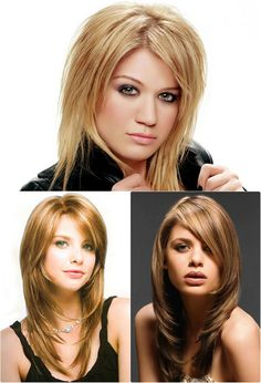 lange Stufenschnitten Haare für runde Gesichter                                                                                                                                                                                 Mehr