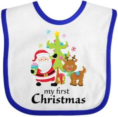 8e492bad159 Inktastic My First Christmas Baby Bib Kids Children Presents Tree Cute  Present Carol Song Red Nose