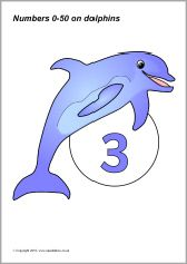 Numbers 0-50 on dolphins (SB3176) - SparkleBox