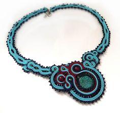 Statement teal necklace soutache OOAK soutache large teal soutache navy blue…