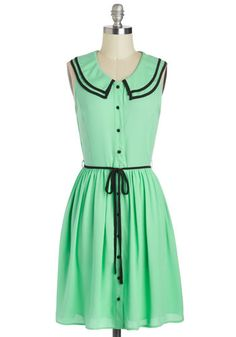 Scoop of Mint Chocolate Dress - Mid-length, Mint, Black, Buttons, Peter Pan Collar, Belted, Casual, A-line, Sleeveless, Collared, Solid, Vintage Inspired, Button Down