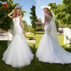 Find More Wedding Dresses Information about 2016 Elegant  Mermaid Wedding Dresses Bateau Sheer Neck Lace Appliques Beautiful Fish Tails Floor Length Bridal Gown Plus Size,High Quality gown music,China dress kelly Suppliers, Cheap dress water from S. Dream Dreses Co,Ltd on Aliexpress.com