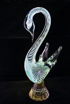Italian Swan Figurine Murano Glass