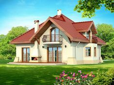 DN Karen is a house with an attic, basement with garage single user in a block building. The project is. Building A Small Cabin, Home Building Design, Building A House, Bungalow House Design, Modern Bungalow, Modern House Design, Family House Plans, Dream House Plans, Two Story House Design