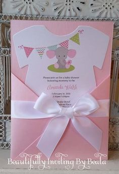 Baby Elephant Baby Shower Invitation- Pink and Gray Baby Shower Baby Boy Shower - Custom Diaper Die Cut Invitation