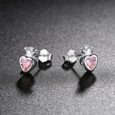 Aziz bekkaoui authentic 925 sterling silver sweet pink heart of crown stud earrings cute earrings jewelry Crown Earrings, Girls Earrings, Cute Earrings, Sterling Silver Earrings Studs, Heart, Sweet, Pink, Candy, Pink Hair