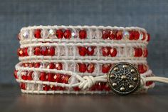 candy cane wrap bracelet- christmas jewelry - red and clear crystal on bright white leather - holiday jewelry - beaded with snowflake button Handmade Jewelry Bracelets, Etsy Jewelry, Beaded Jewelry, Clear Crystal, Crystal Beads, Crystals, Christmas Jewelry, Leather Jewelry, Candy Cane