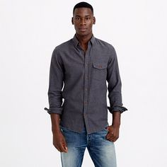 SLIM BRUSHED TWILL SHIRT Twill shirts have a well-deserved rugged rep, but thanks to our specially brushed fabric, they're now known for having a soft side too. Destined to be a cool-weather classic, this one is accented with tough, fade-resistant Corozo nut buttons for authenticity.  Slim fit, cut more narrowly through the body and sleeves.Cotton.Button-down collar.Camp pockets.Machine wash.Import.