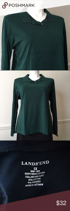 NWOT Dark Green Long Sleeve Polo Shirt NWOT Dark Green Long Sleeved 100% soft and cozy Pima Cotton Polo Shirt from Lands' End. Women's plus size 20W/22W/2X but is very generously cut and fit me at a 3X. Measurements available upon request. 🚫No holds 🚫No Lowball Offers 🚫No Trades ✅Please submit reasonable offers via the offer button or 🎁 bundle & save! Lands' End Tops Tees - Long Sleeve