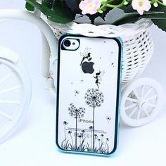 Solde:Coque iPhone 4/4S Neuf. Motif fées bleu sur Fleur.Envoie rapide avec soin.