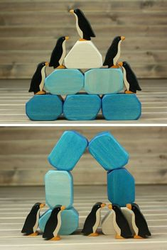 The set of blocks and penguins to create an iceberg! Click the link and see more photos! Winter Crafts For Toddlers, Animal Crafts For Kids, Diy For Kids, Penguin Craft, Wooden Animals, Wooden Blocks, Wood Toys, Diy Toys, Wooden Diy