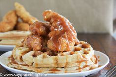 Salted Caramel Waffles with fried chicken