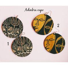 Disk Ankara Earrings/ african print earrings/ african jewelry/ mask / mask earrings/ mask jewelry by AdinkraExpo on Etsy