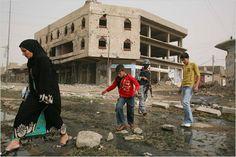 Civilian woman and children
